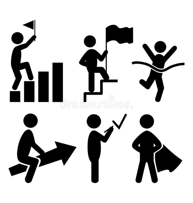 Pictograma plano de los iconos de la gente del éxito en blanco libre illustration