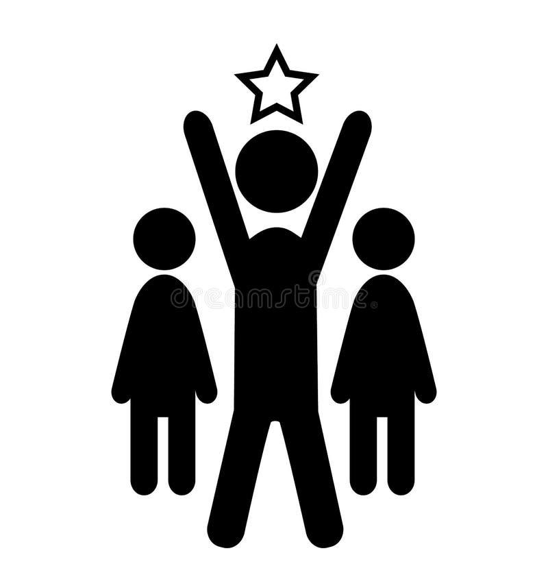 Pictograma proeminente de People Flat Icons do líder da vitória do homem ilustração stock