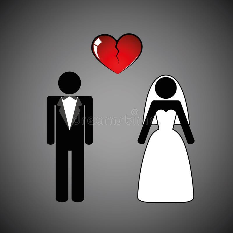 Pictograma separado do coração quebrado do homem e da mulher dos pares do casamento ilustração do vetor