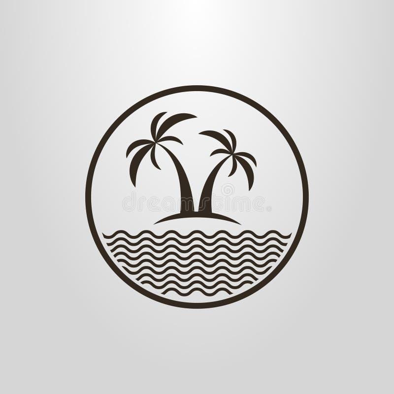 Pictograma simple del vector de dos palmeras y un mar en un marco redondo ilustración del vector