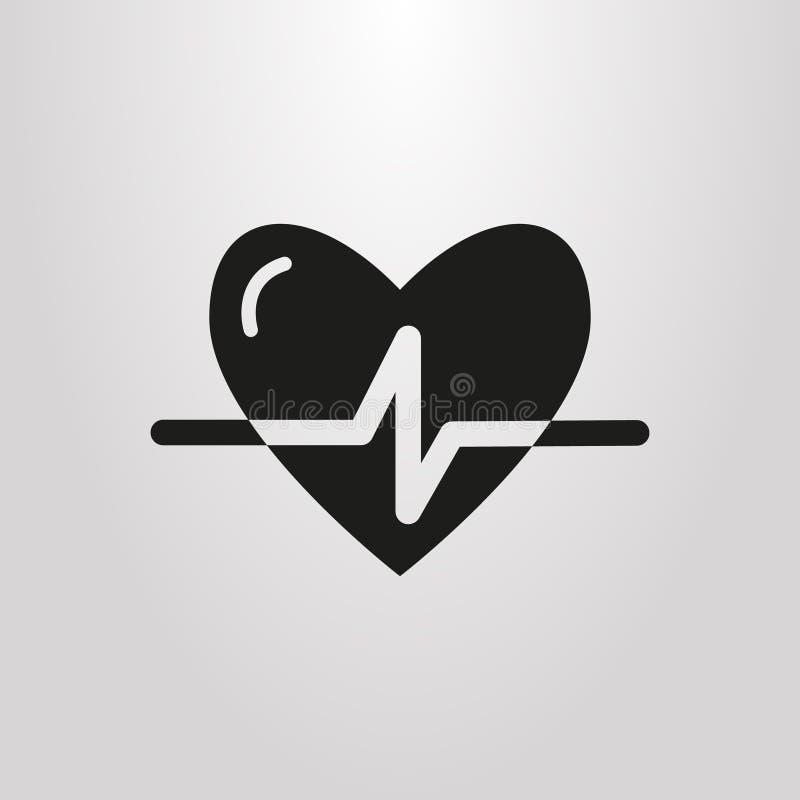 Pictograma simple del vector del rastro del pulso en la forma del corazón stock de ilustración