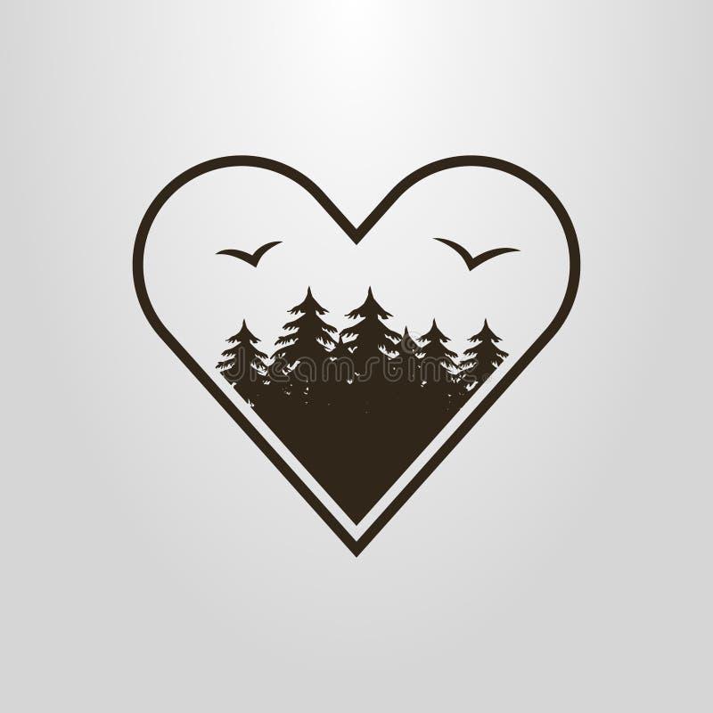 Pictograma simples do vetor da floresta com os pássaros no quadro da forma do coração ilustração stock