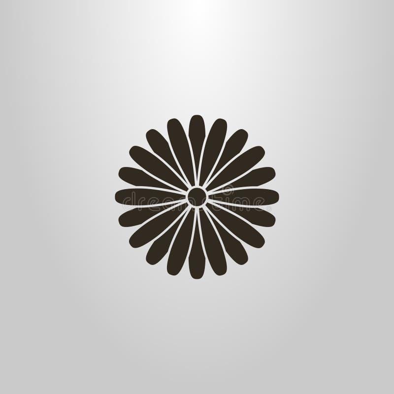Pictograma simples do vetor de uma flor redonda da flor da multi-folha no estilo japonês ilustração stock