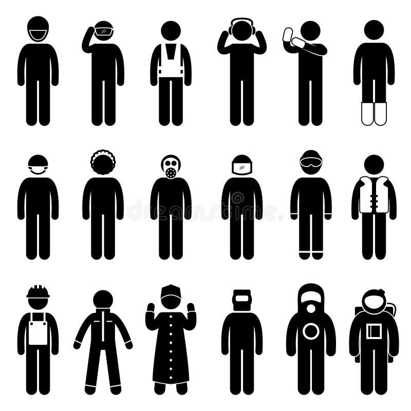 Pictograma uniforme del desgaste del traje apropiado de la seguridad libre illustration