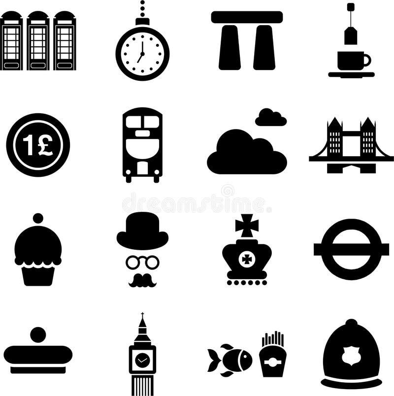 Pictogramas BRITÁNICOS stock de ilustración