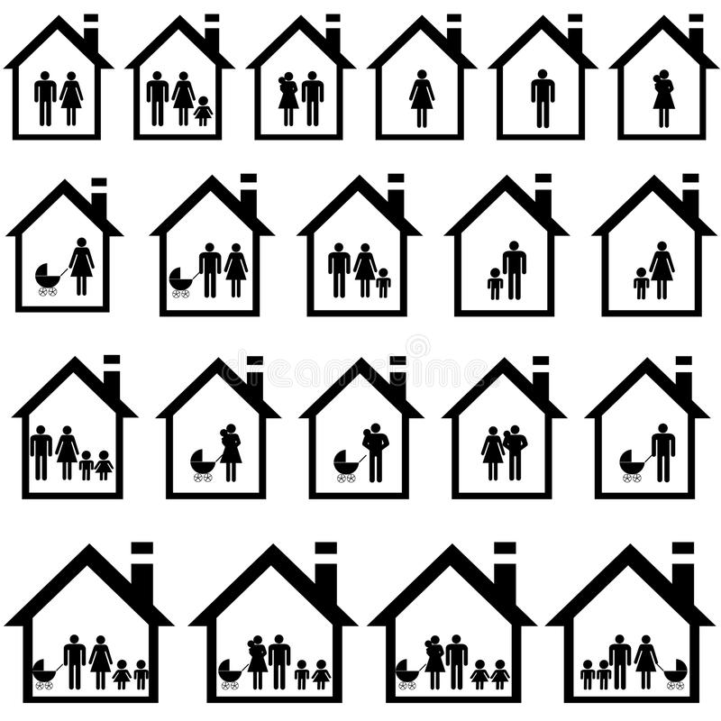 Pictogramas de familias en casas stock de ilustración