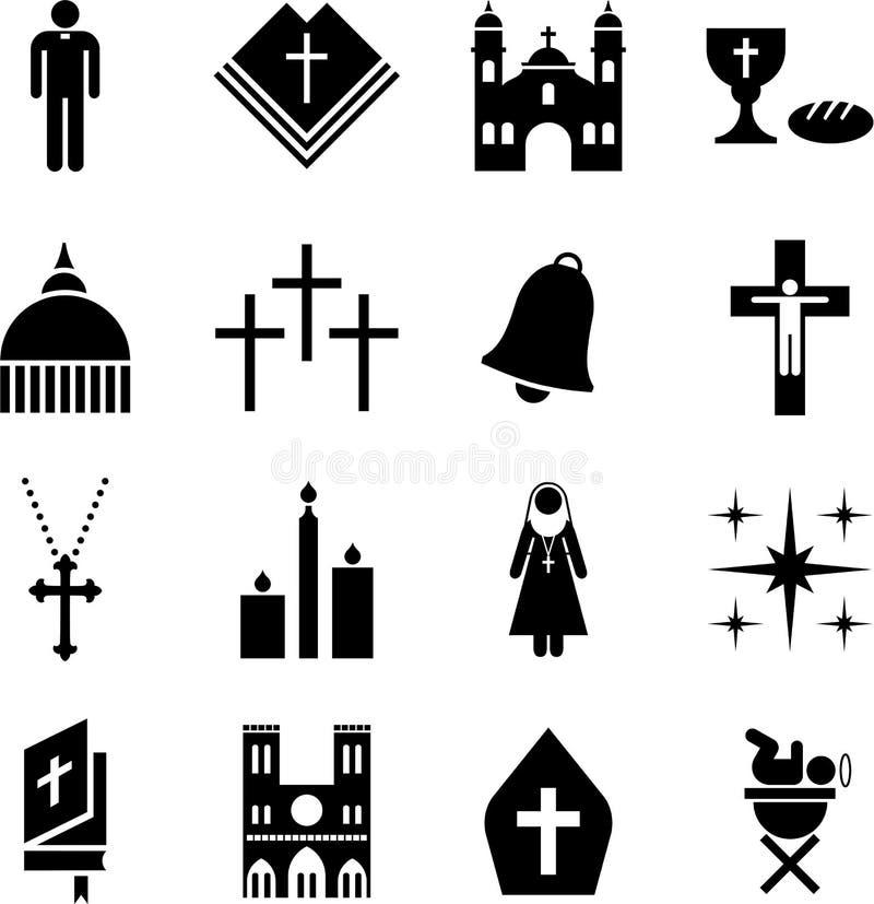 Pictogramas de la religión católica stock de ilustración