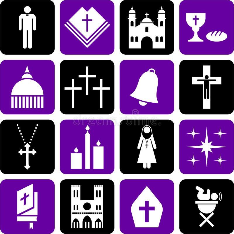 Pictogramas de la religión católica ilustración del vector