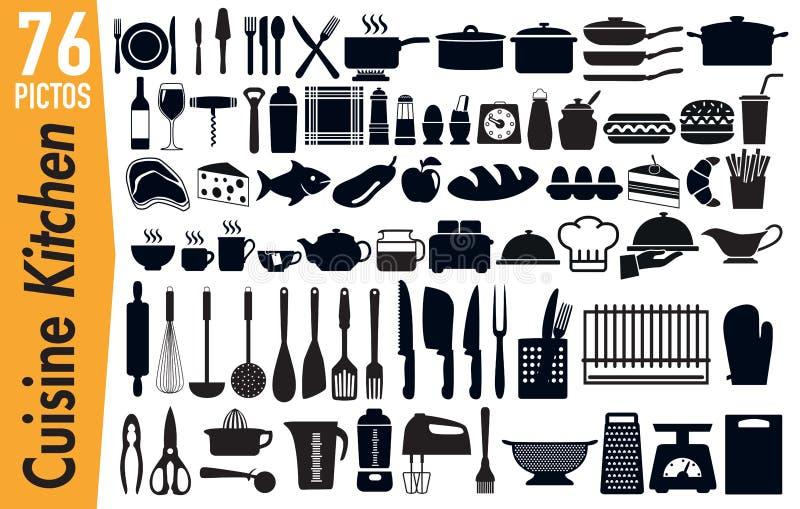 76 pictogramas de la señalización en insectos de los utensilios de la cocina ilustración del vector