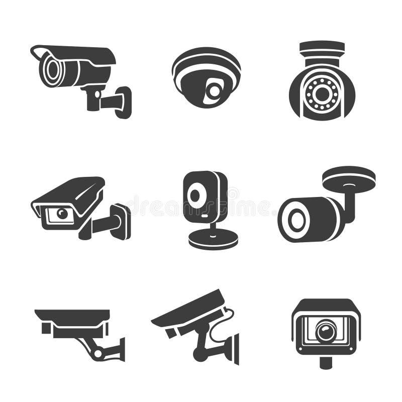 Pictogramas gráficos del icono de las cámaras de seguridad video de la vigilancia fijados stock de ilustración