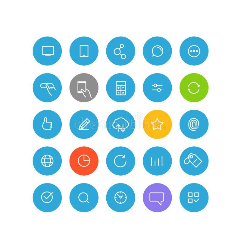 Pictogramas modernos del web y de la aplicación móvil ilustración del vector