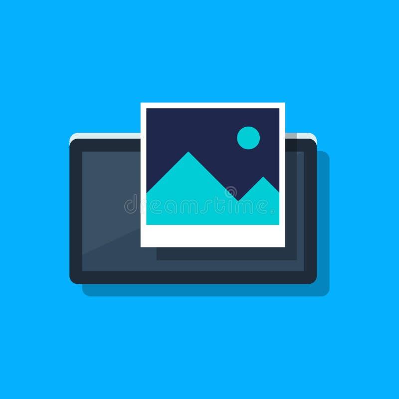 Pictogrambeeld of document foto op tablet of smartphone het schermachtergrond Het vlakke geïsoleerde beeld van de beeldverhaalfot vector illustratie