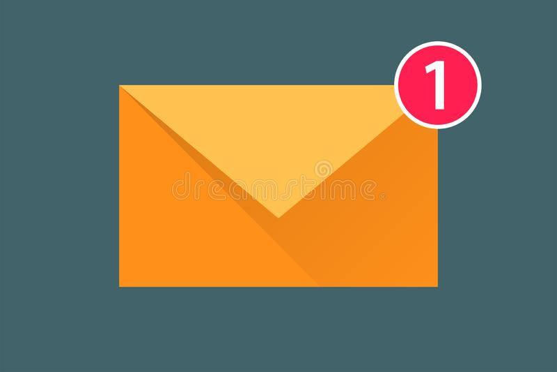 Pictogrambericht nieuwe binnenkomend bericht Envelop met schaduw stock illustratie