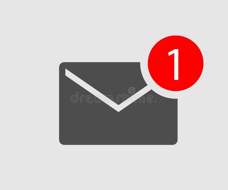 Pictogrambericht nieuwe binnenkomend bericht zwarte envelop met één binnenkomend bericht royalty-vrije illustratie