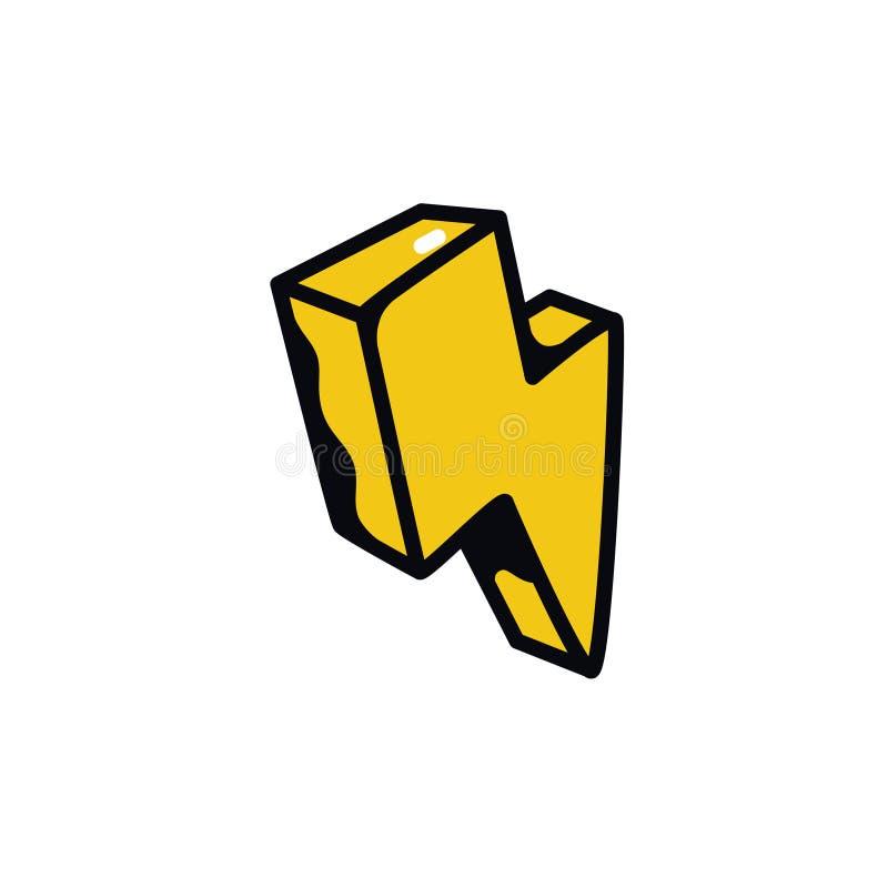 Pictogrambliksem Vector Illustratie van een gele bliksempijl Beeldverhaalteken, symbool vector illustratie