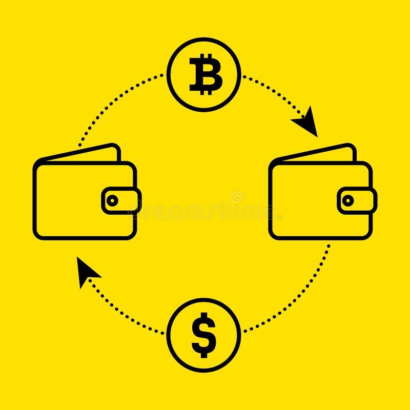 Pictogramdollar aan bitcoinuitwisseling van munt Vlak Ontwerp De vectorillustratie isoleerde een gele achtergrond voor website of vector illustratie