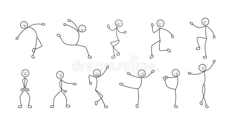 Pictogramen som dansar folk som är frihands skissar stock illustrationer