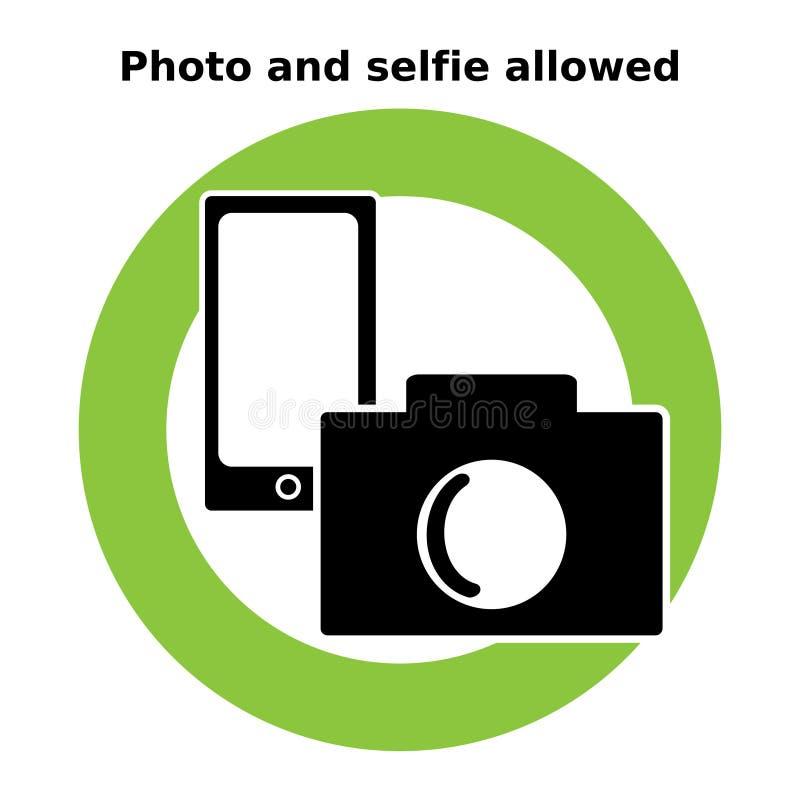 Pictogramfoto en selfie toegestaan Tekens en Symbolen vector illustratie