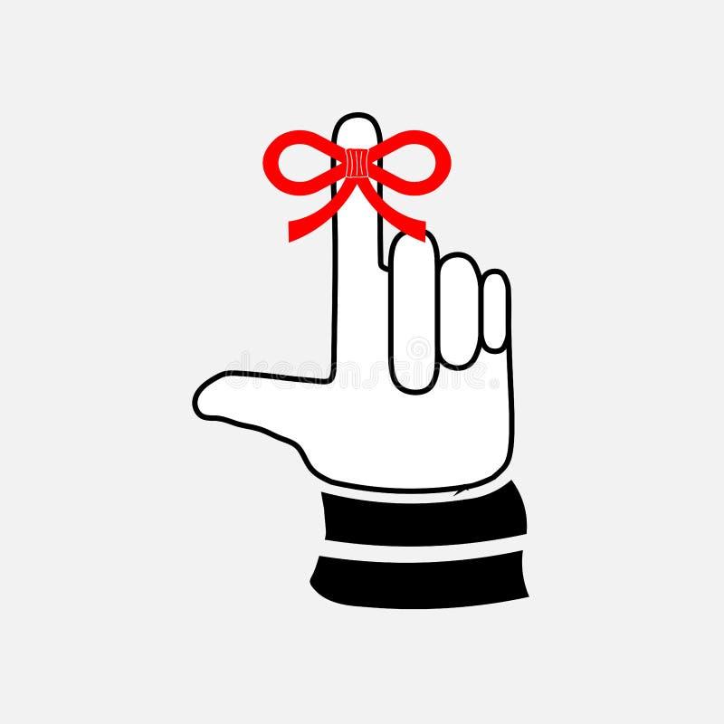 Pictogramhand met een vinger, boog vector illustratie