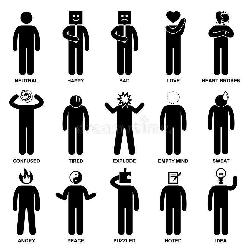 Pictogramme d'action de sensation d'émotion d'homme de gens illustration libre de droits