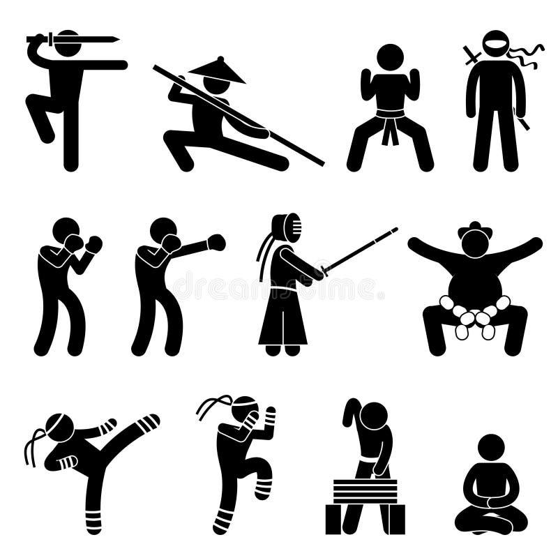 Pictogramme d'autodéfense d'arts martiaux de Kung Fu illustration de vecteur