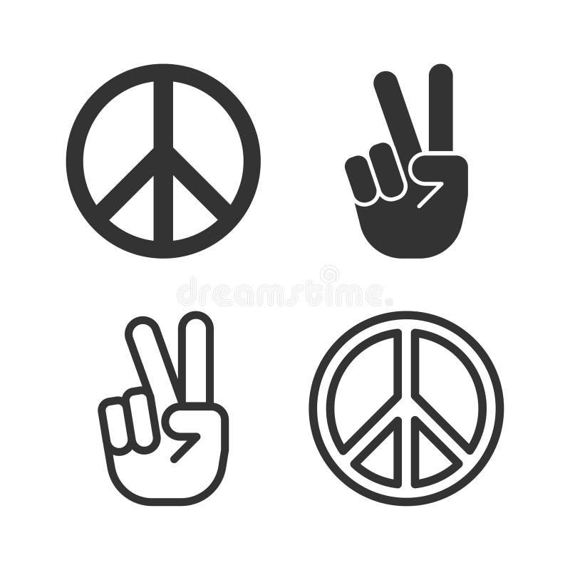 Pictogramme d'ensemble d'icône de paix de vecteur illustration stock
