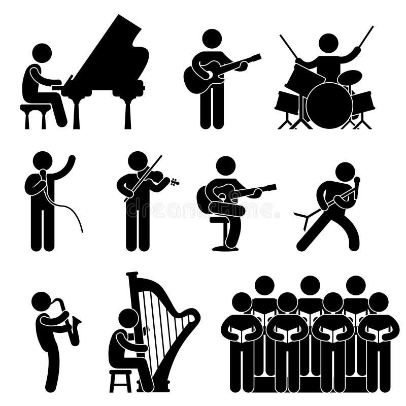 Pictogramme de choeur de concert de pianiste de musicien illustration de vecteur