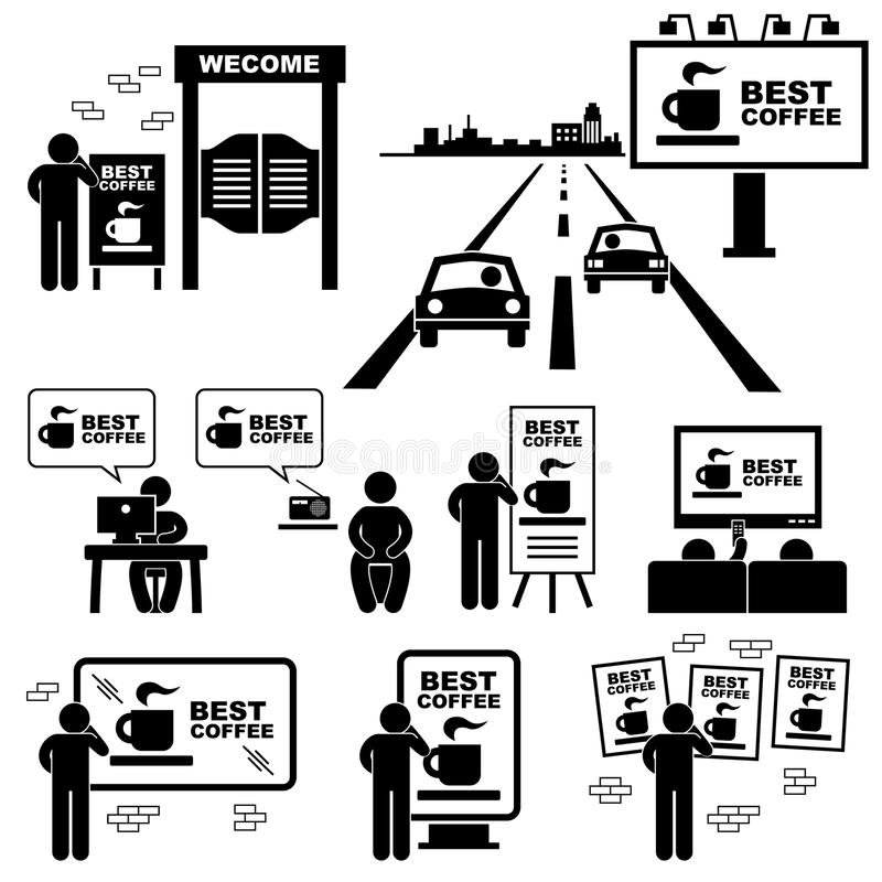 Pictogramme de panneau d'affichage de panneau de publicité illustration stock