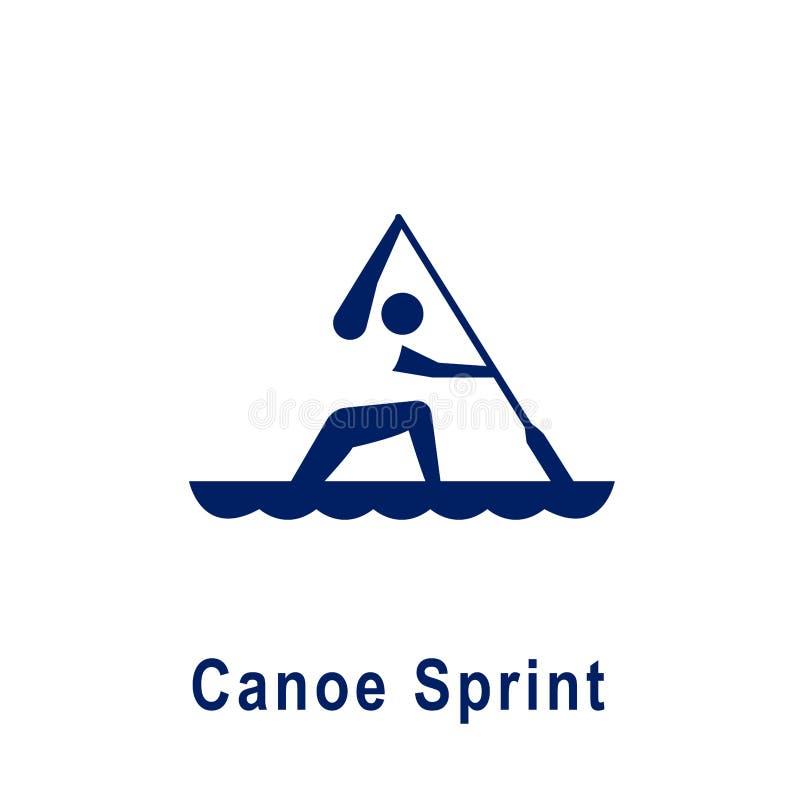 Pictogramme de sprint de canoë, nouvelle icône de sport illustration de vecteur