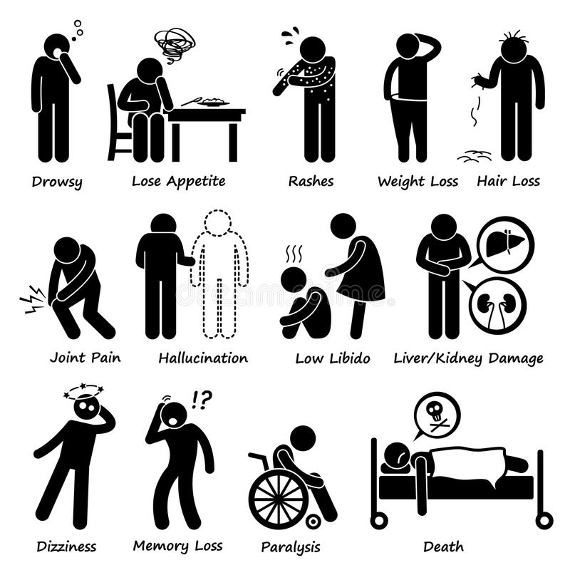 Pictogramme de symptômes d'effets secondaires de drogue de médicament illustration libre de droits