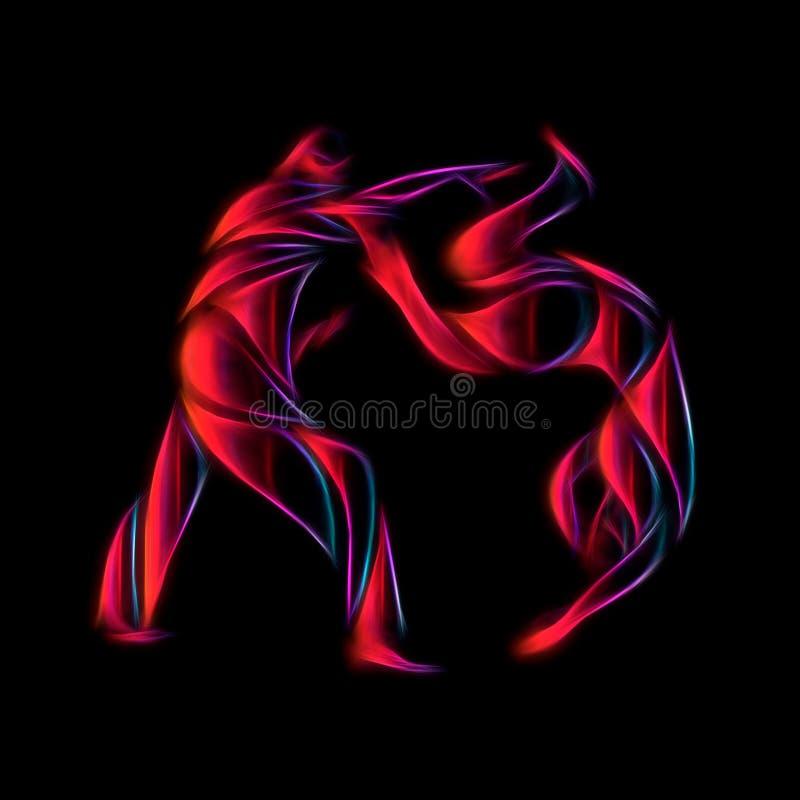 Pictogramme rond ou logo de combattants de judo Icône d'arts martiaux illustration de vecteur