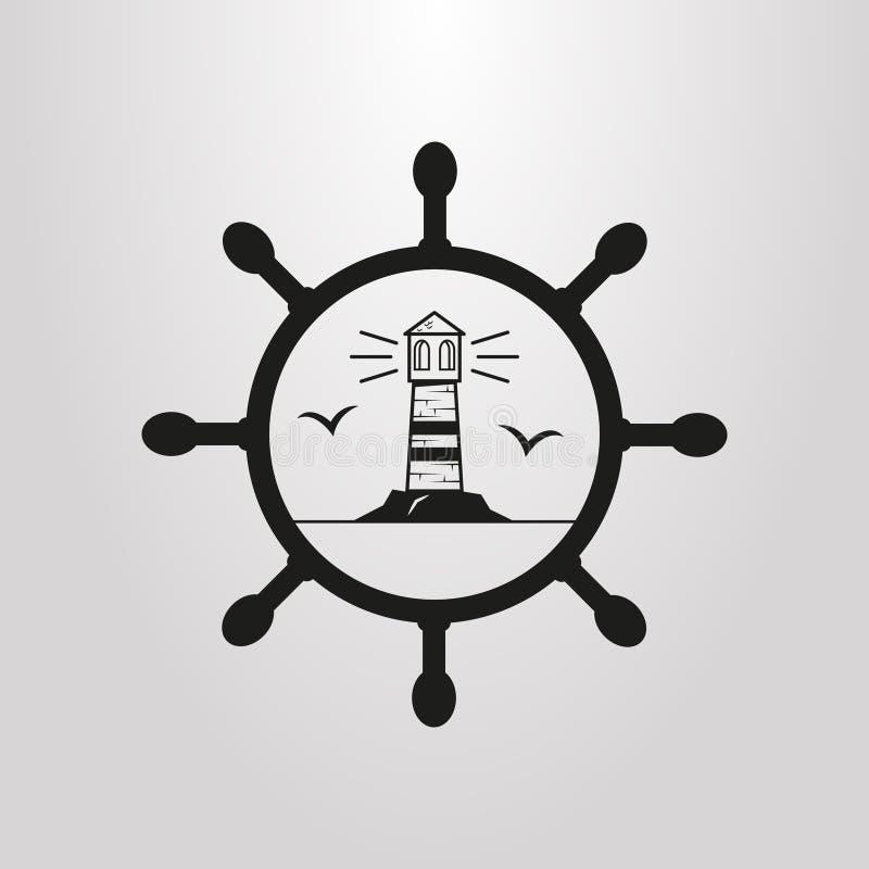 Pictogramme simple de vecteur de phare avec des mouettes dans le cadre de barre de mer illustration libre de droits