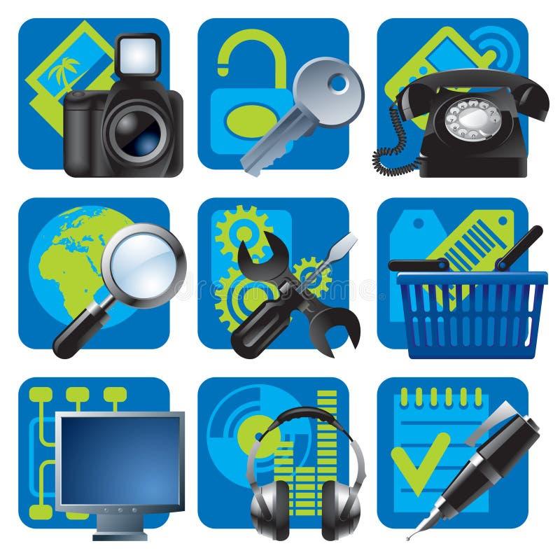 Pictogrammen 1 van de website en van Internet vector illustratie