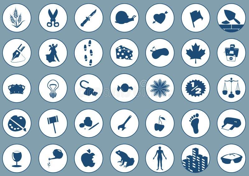 Pictogrammen 2 op blauw stock illustratie