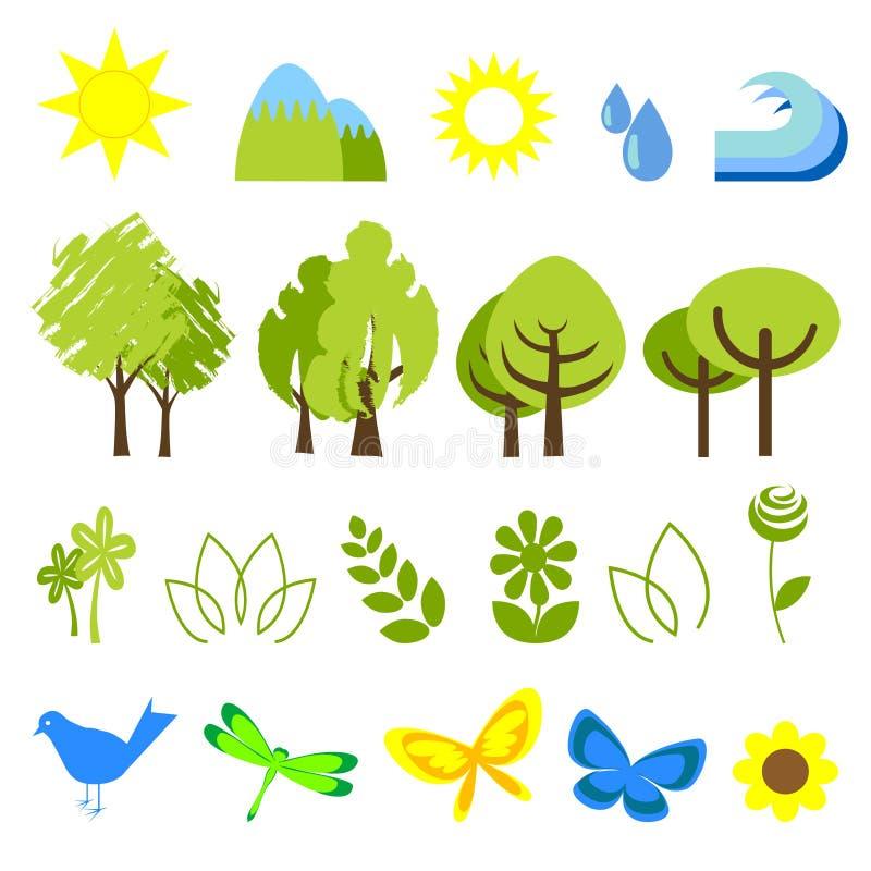 Pictogrammen 2 van de ecologie royalty-vrije illustratie