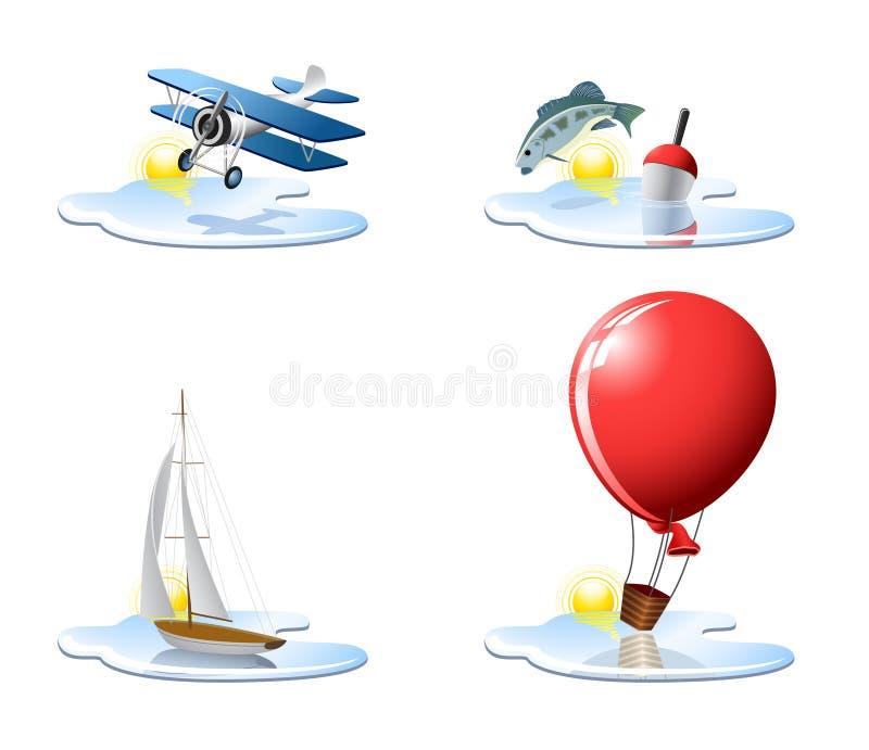 Pictogrammen 3 van de vakantie en van de vakantie vector illustratie