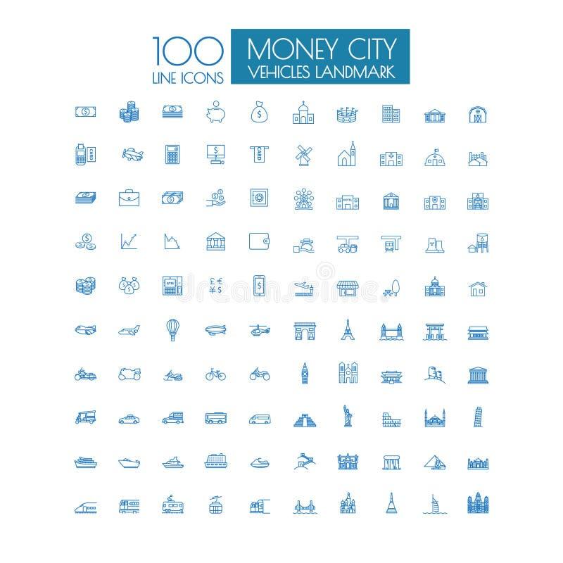 100 pictogrammen Bedrijfsreisoriëntatiepunt en openbaar vervoer vector illustratie