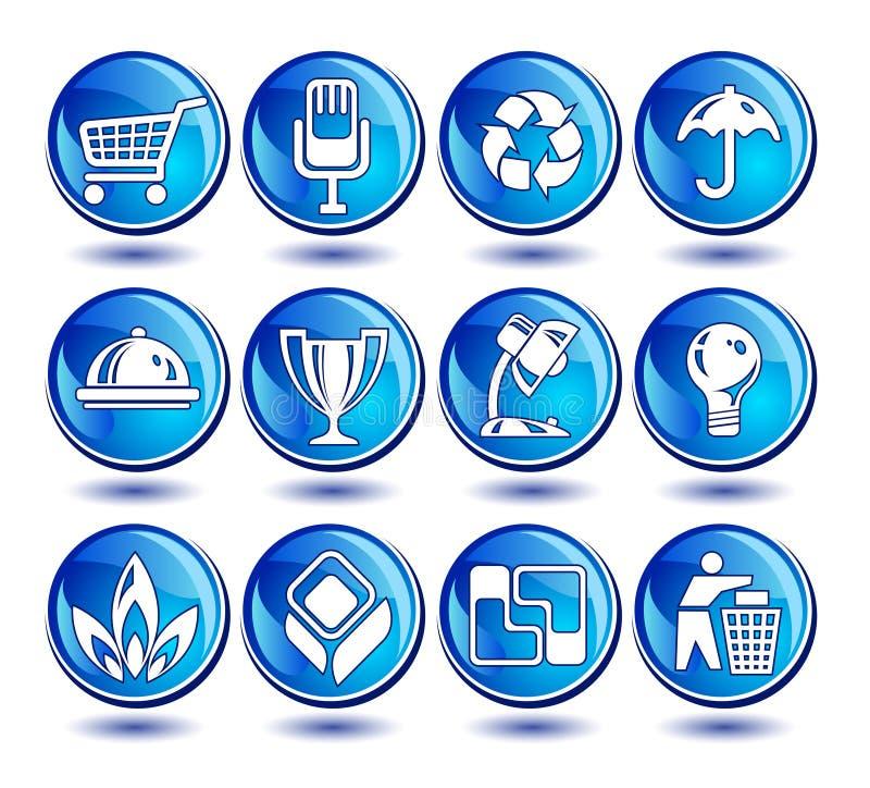 Pictogrammen in blauw stock illustratie