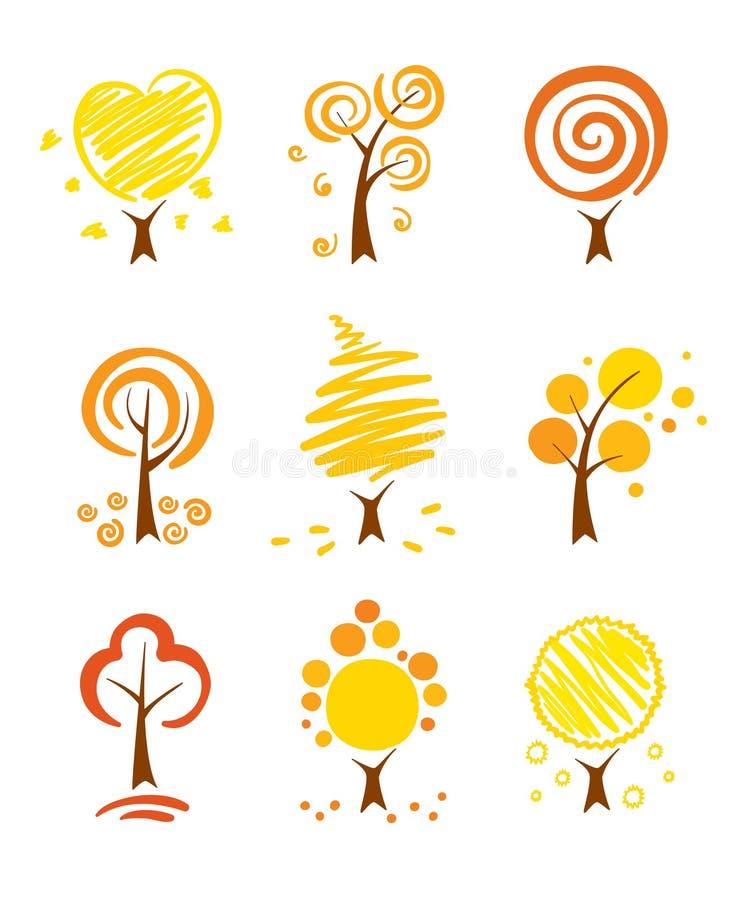 Pictogrammen - de herfstbomen royalty-vrije illustratie