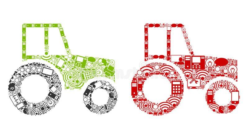 Pictogrammen de op wielen van de Tractorsamenstelling voor BigData stock illustratie