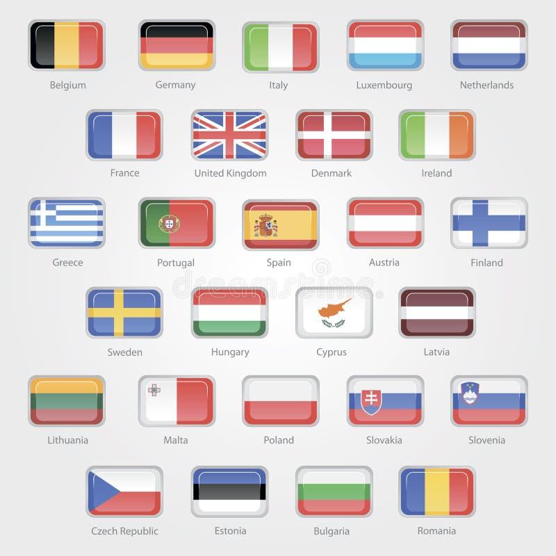 Pictogrammen die de vlaggen van de de EU-landen afschilderen stock illustratie