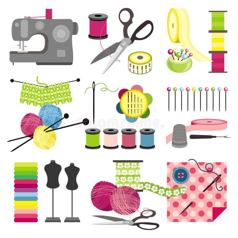 Pictogrammen die van de ambacht - de naaien vector illustratie