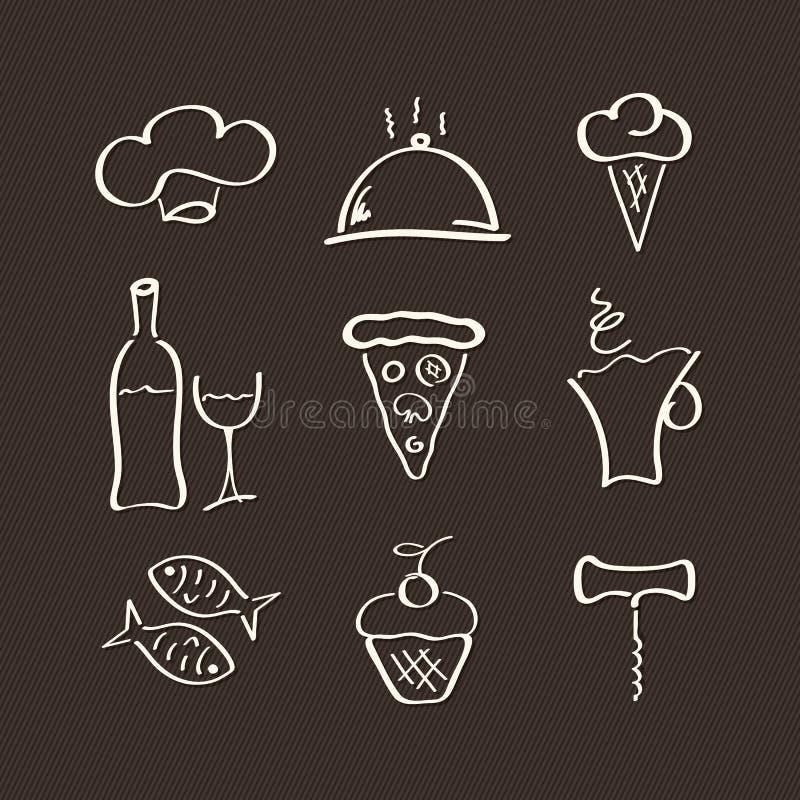 Pictogrammen die voor restaurant worden geplaatst vector illustratie