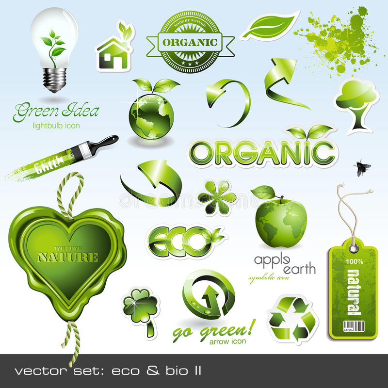 Pictogrammen: eco & bio II stock illustratie