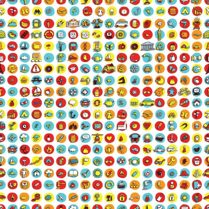 Pictogrammen en cirkels naadloos patroon stock illustratie