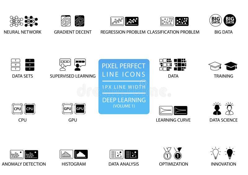 Pictogrammen en de symbolen van de pixel de perfecte dunne lijn voor diep het leren vector illustratie