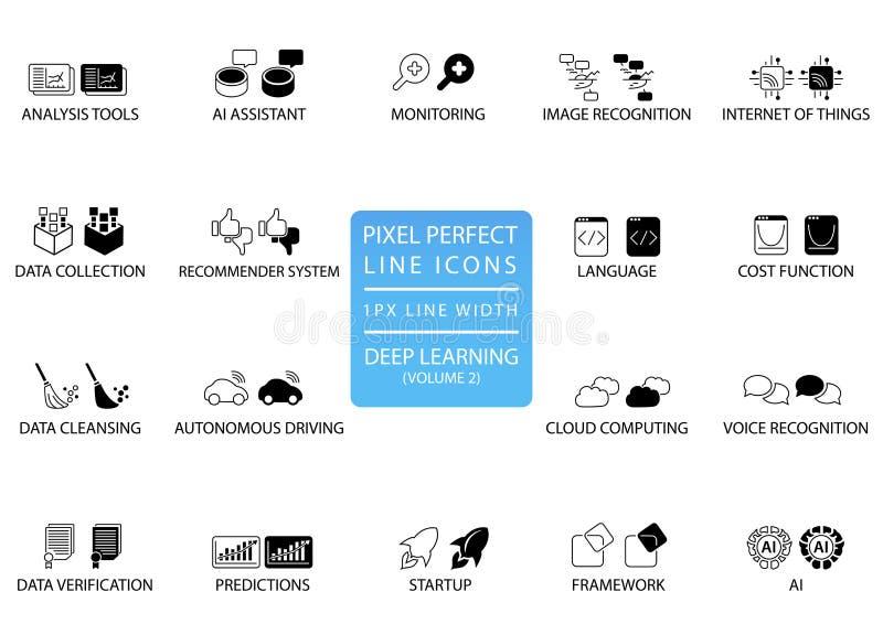 Pictogrammen en de symbolen van de pixel de perfecte dunne lijn voor diep het leren stock illustratie