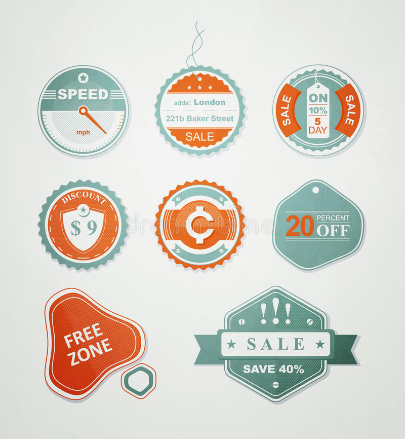 Pictogrammen en etiketten voor de verkoop royalty-vrije illustratie