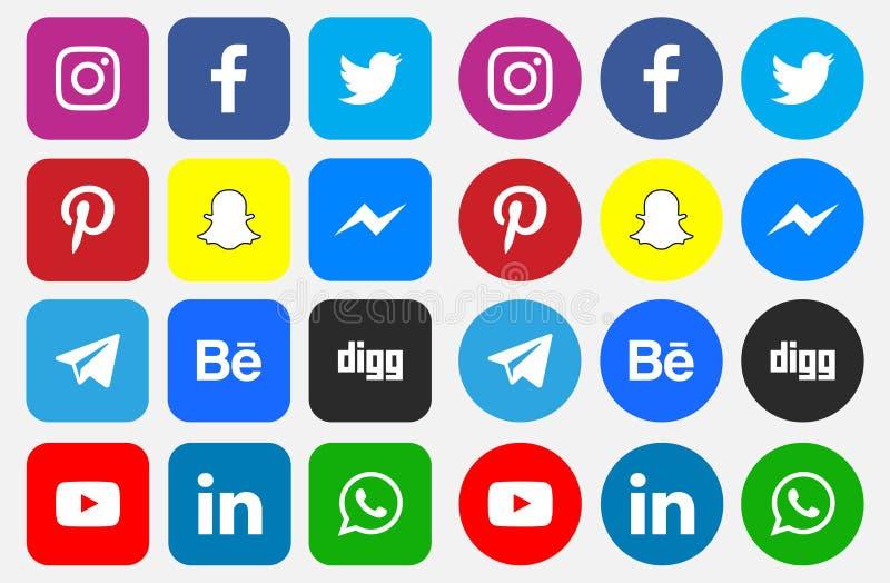 Pictogrammen en Sociale Media Emblemen royalty-vrije illustratie