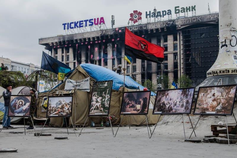 Pictogrammen. Euromaidan, Kyiv na protest 10.04.2014 stock fotografie